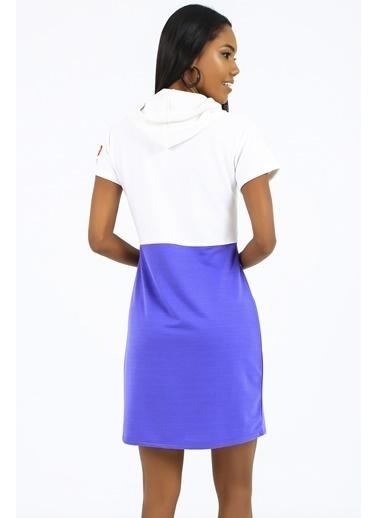 Emjey Kapüşonlu Down Baskılı Elbise Mor